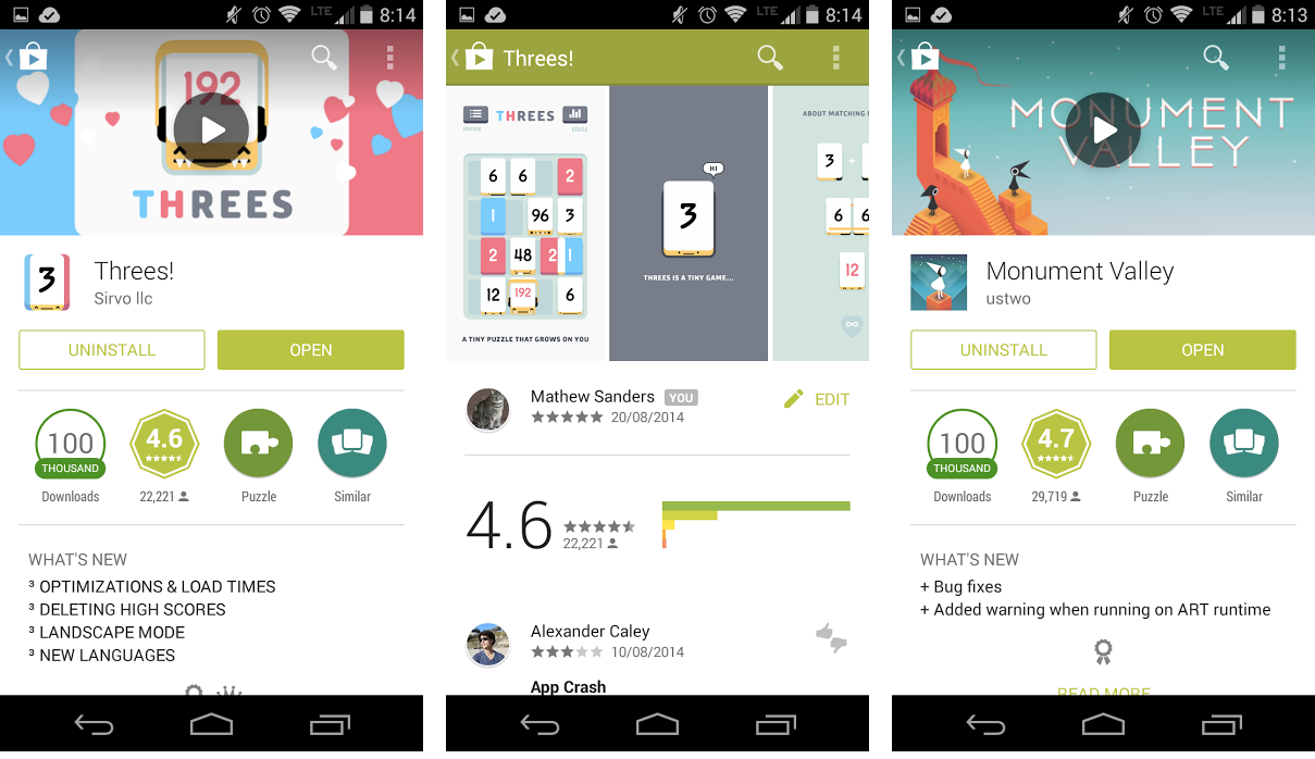 Threes! and Monument Valley on Google play app store.