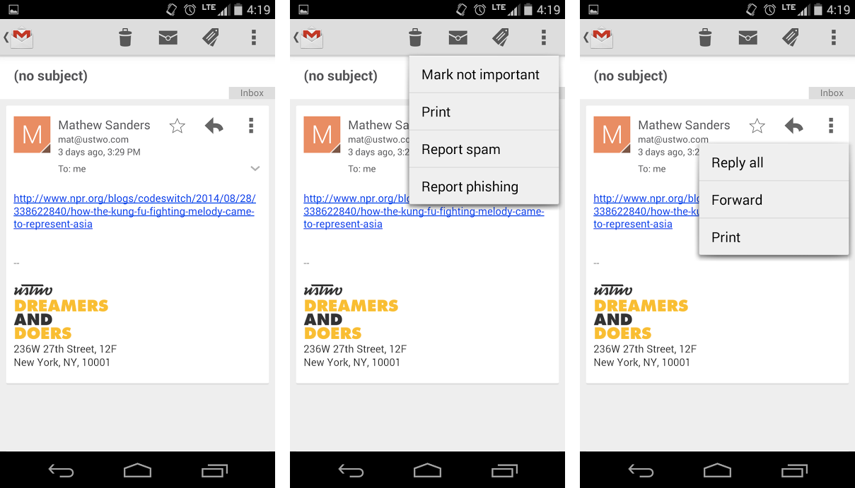 Action overflow menus in Gmail.