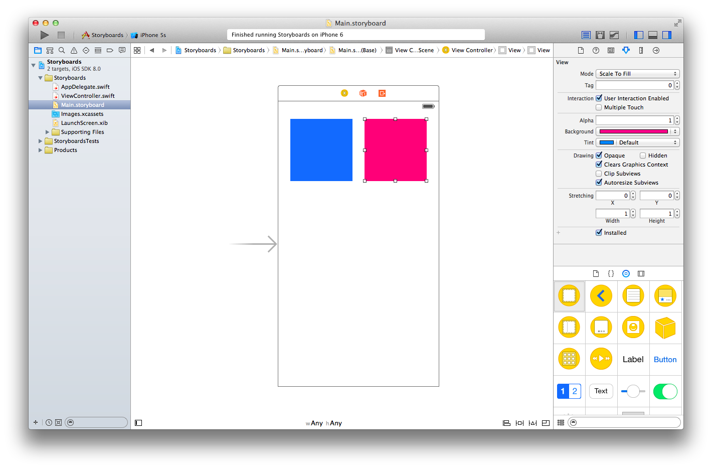 Designing Adaptive Layouts For Iphone 6 5 Logic Board Diagram When We Run The App Squares Are Laid Out Exactly Where Positioned Them In Portrait Switch Orientation To Landscape They Remain Loyal