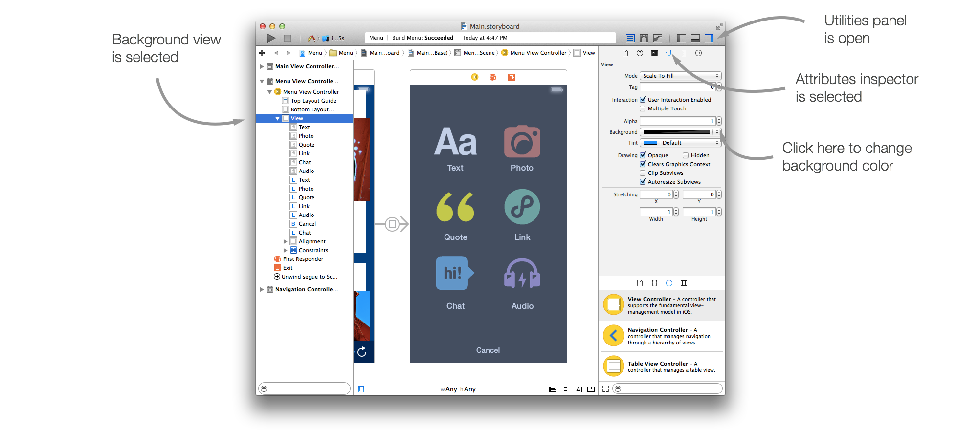 Background image xcode storyboard - Running The Project Now You Can See That The Background Screen Is Visible While The Slide Up Transition Is In Progress But When It Ends It Disappears And